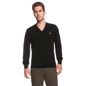 Men's Black Lacoste Cashmere V-neck Sweater